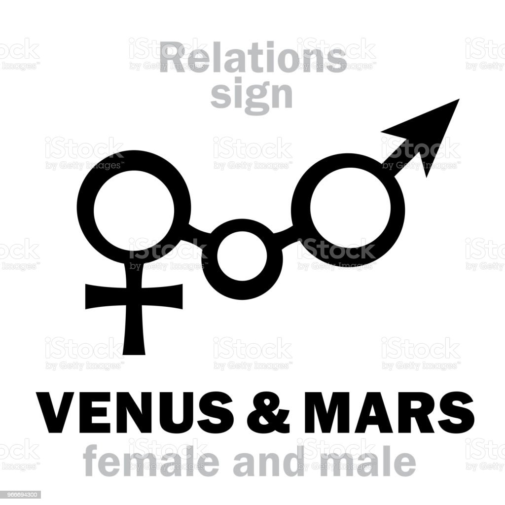 Astrology Alphabet: VENUS & MARS, union of feminine and masculine principles. Hieroglyphics signs of a man and a woman (conjunction symbol). vector art illustration