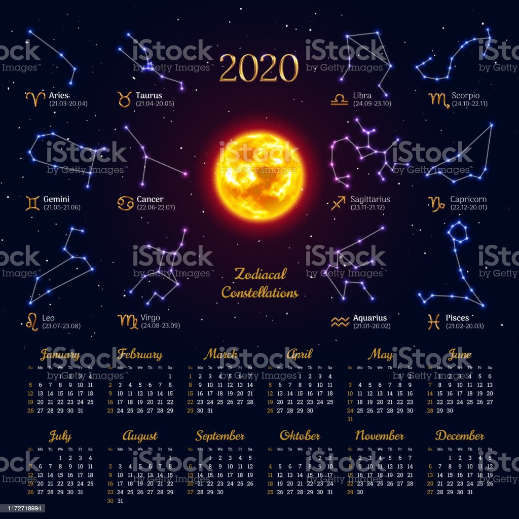 Astrology Calendar For 2020 Year Stock Illustration Download Image Now Istock