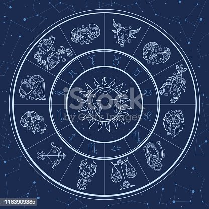 Astrology circle. Magic infographic with zodiac symbols gemini horoscopes wheel fish gemini aries lion vector template. Horoscope and zodiac, aquarius and gemini, capricorn and lion illustration