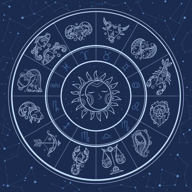 ilustrações de stock, clip art, desenhos animados e ícones de astrology circle. magic infographic with zodiac symbols gemini horoscopes wheel fish gemini aries lion vector template - astrologia