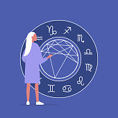 Astrology concept, Young female character reading a natal chart, future prediction