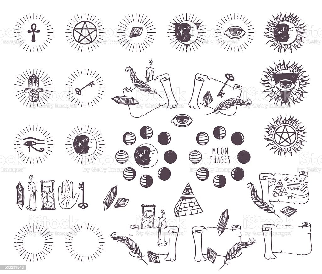 Astrology esoteric vector icons vector art illustration