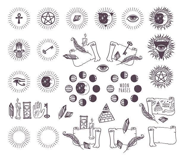 астрология эзотерические векторные иконки - третье око stock illustrations