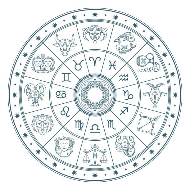 ilustrações de stock, clip art, desenhos animados e ícones de astrology horoscope circle with zodiac signs vector background - astrologia