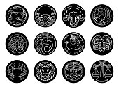 Astrology horoscope zodiac star signs icon symbols set