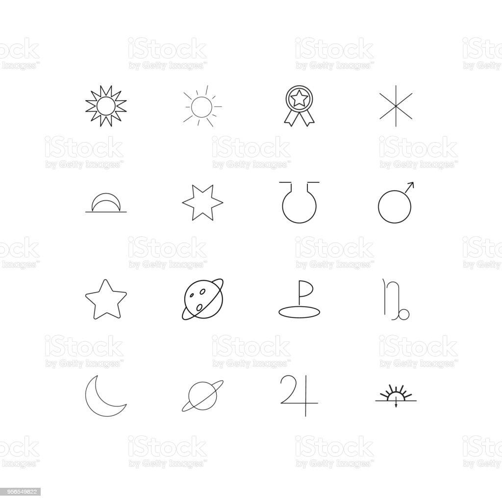 Astrologie lineare dünne Symbole festgelegt. Beschriebenen einfachen Vektor-icons - Lizenzfrei Aserbaidschan Vektorgrafik