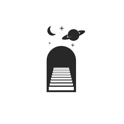 Astrology logo doorway with stairs, moon, planet Saturn and stars as a astrological magic symbol black and white minimal style, stairs going up to infinity