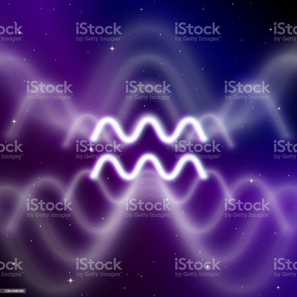 Astrology sign of Aquarius with mystic aura in universe. Magic icon - ilustração de arte vetorial