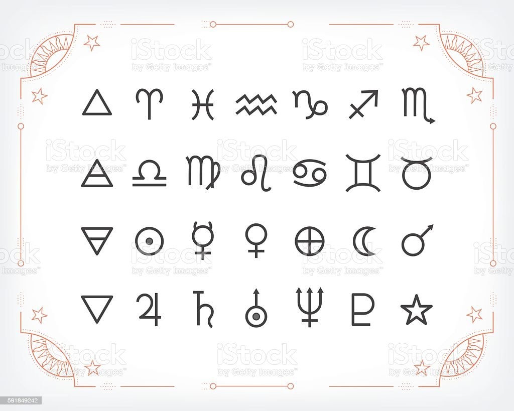 Astrology Symbols And Mystic Signs Stock Illustration - Download