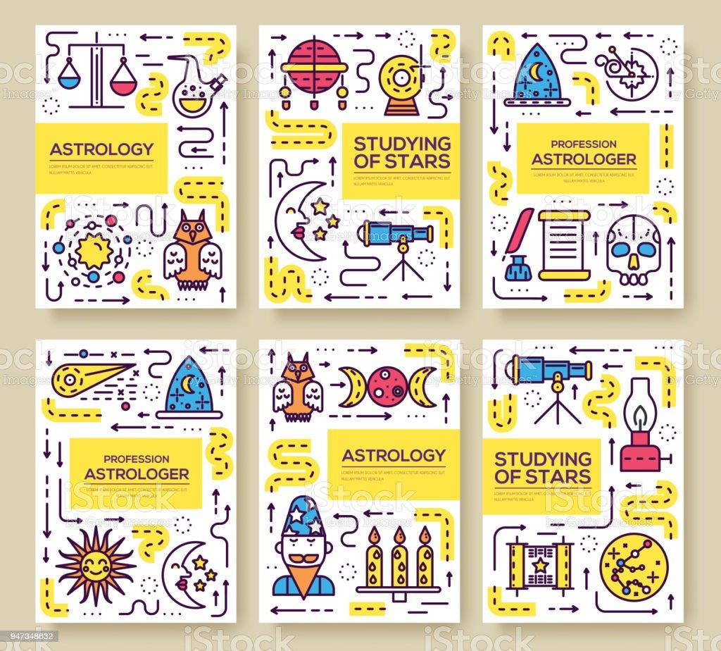 Astrologiedünne Linie Broschüre Karten Festgelegt Die Bunte Vorlage ...