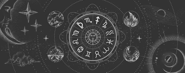 ilustrações de stock, clip art, desenhos animados e ícones de astrology wheel with zodiac signs on outer space background. four elements. star map. horoscope vector illustration - astrologia