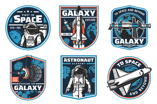 Astronaut academy, galaxy explore vector icons