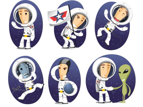 Astronaut action set Cartoon Astronaut action set. astronaut floating in space stock illustrations
