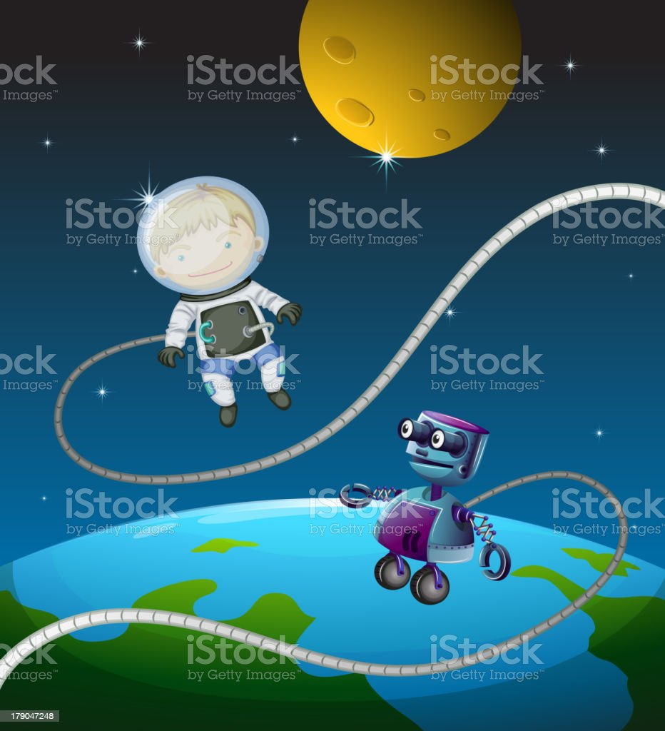 Astronaut and a robot royalty-free stock vector art