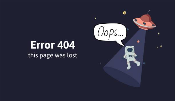 astronaut and flying saucer in outer space. text warning message this page was lost. oops 404 error page, vector template for website. colored flat vector illustration. horizontal. - lost stock illustrations