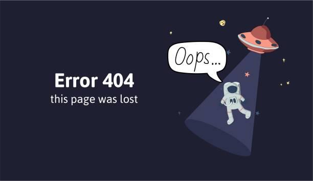 우주 비행사 그리고 우주에서 비행 접시입니다. 텍스트 경고 메시지가이 페이지 손실 되었습니다. 죄송 합니다 404 오류 페이지, 웹사이트를 위한 벡터 템플릿. 컬러 평면 벡터 일러스트입니다. � - lost stock illustrations