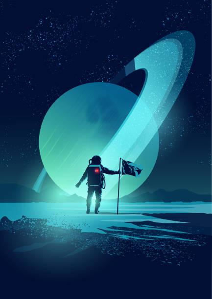 Astronaut and Planet System - illustrazione arte vettoriale