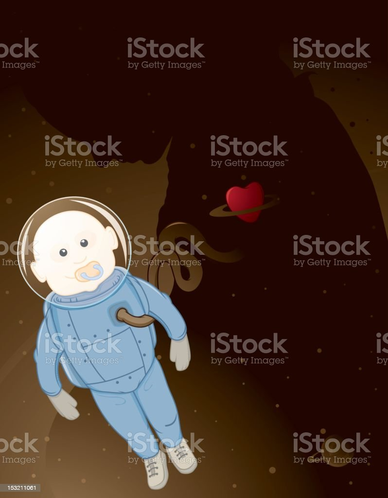 Astronaut baby and mother vector art illustration