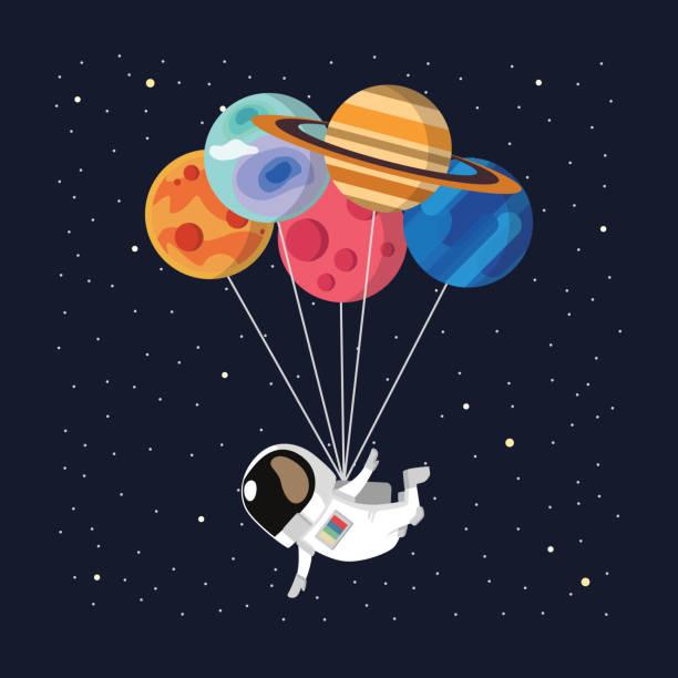 stockillustraties, clipart, cartoons en iconen met astronaut ballon vector - ruimte exploratie
