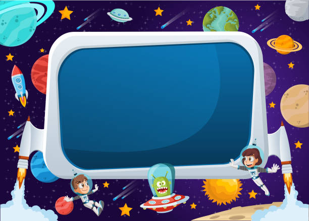 astronaut cartoon children and alien in the space. Futuristic rocket screen board with astronaut cartoon children and alien in the space. adventure borders stock illustrations