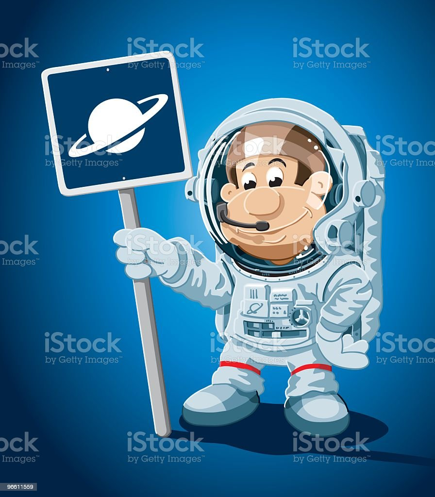 Astronaut Cartoon Man Planet Sign - Royaltyfri Arbetshjälm vektorgrafik