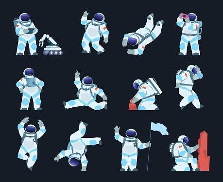 Astronaut. Cartoon spaceman in different poses. Cosmic explorer wears spacesuit and helmet. Cosmonaut takes soil samples or explores surface with space robot. Vector spacewalk scenes set
