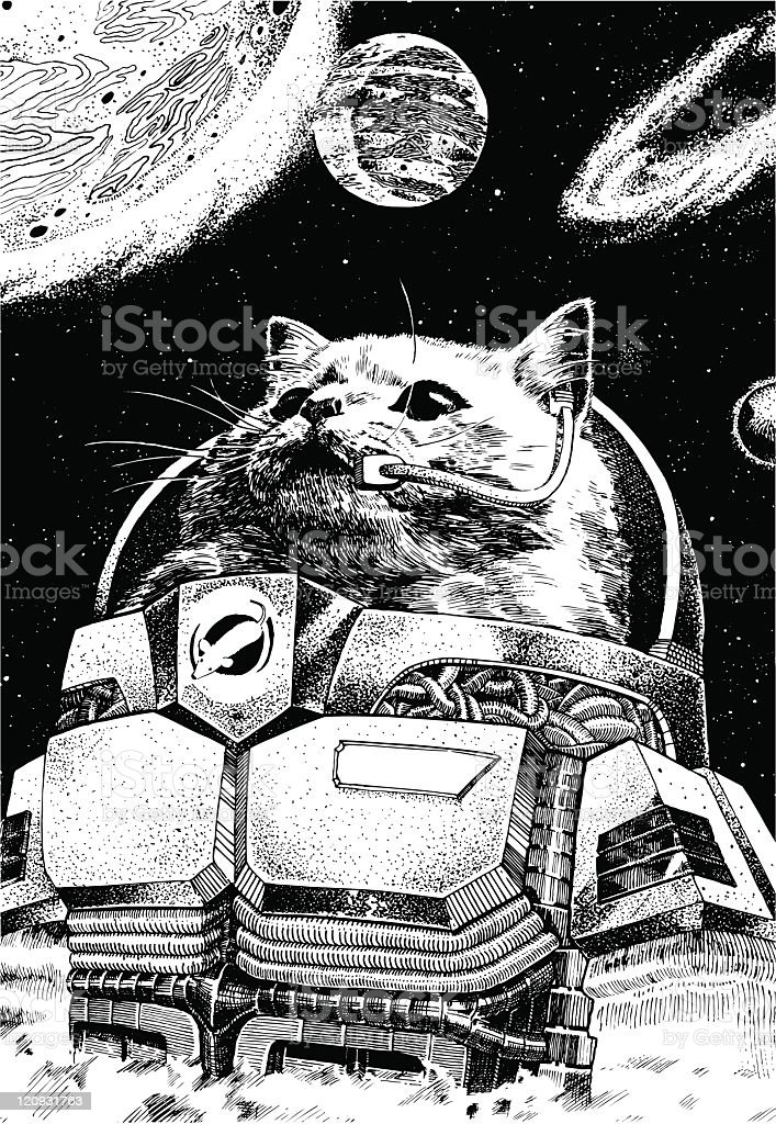 Astronaut Cat Wearing A Space Suit With Planets Floating Around Him vector art illustration
