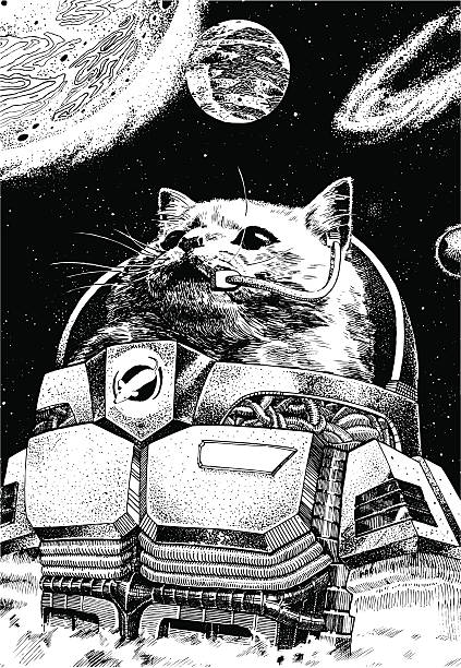 Astronaut Cat Wearing A Space Suit With Planets Floating Around Him Vector file of an astronaut cat commander wearing a space suit, orbiting in space with planets all around him. Concept for a vision of future. astronaut floating in space stock illustrations