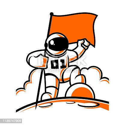 Astronaut character in space suit with flag vector illustration