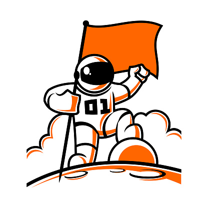 Astronaut character in space suit with flag