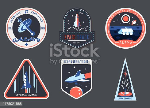 Set of isolated astronaut chevron or spaceman suit patch, cosmonaut badge. Icons for cosmos or universe exploration, planet colonization with satellite and rocket, planet rover. Space and shuttle