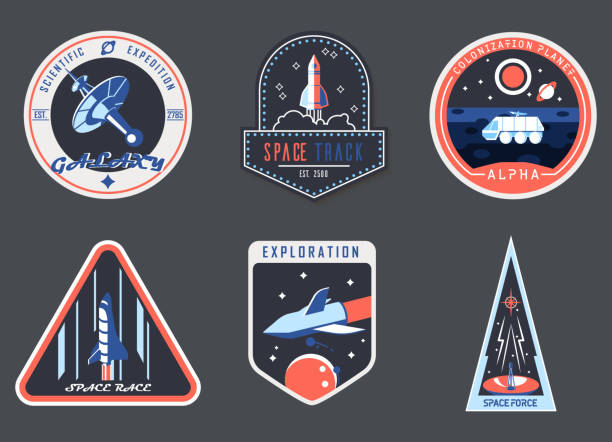 illustrations, cliparts, dessins animés et icônes de le chevron d'astronaute ou le patch de costume d'astronaute, cosmonaute - rocket