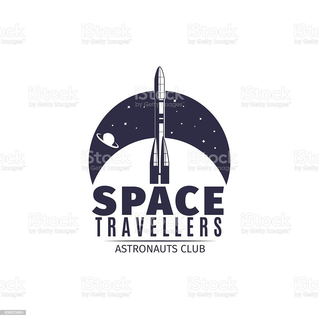 astronaut club retro logo with rocket stock vector art