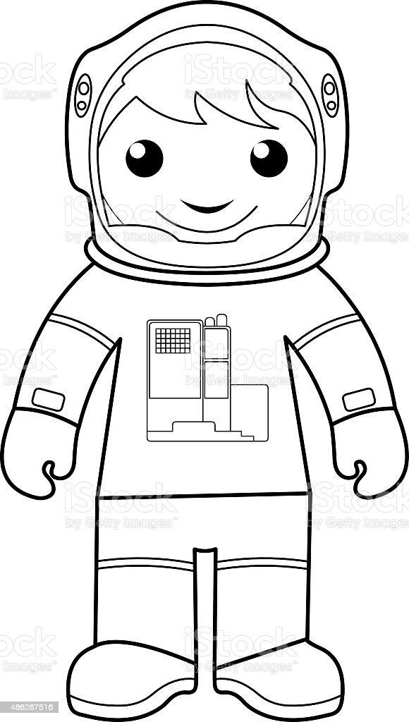 Ilustración de Astronauta De Colorear Página Para Niños y más banco ...