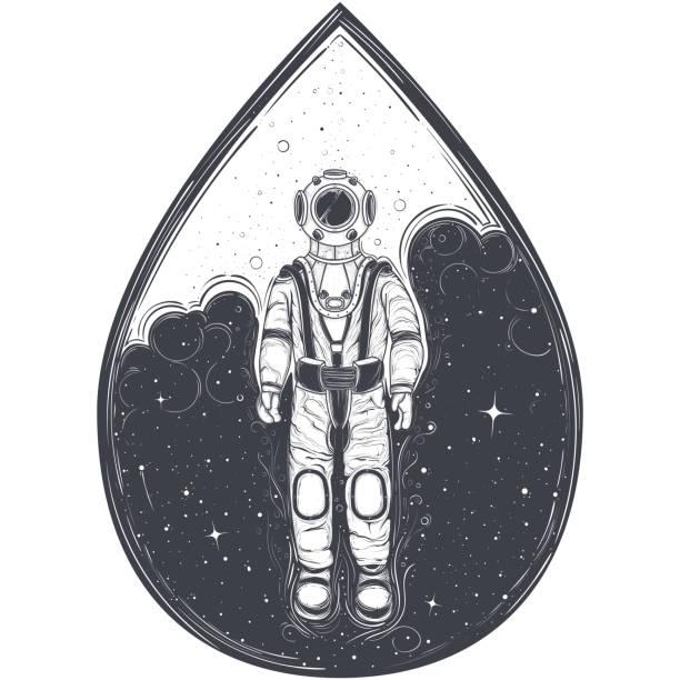 Astronaut, cosmonaut in a space suit and helmet vector art illustration