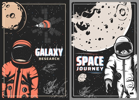 Galaxy research retro vector posters with glitch effect. Astronaut and cosmonaut in outer space journey. Spaceman explorer in spacesuit fly in starry sky with planet, satellite. Universe exploration