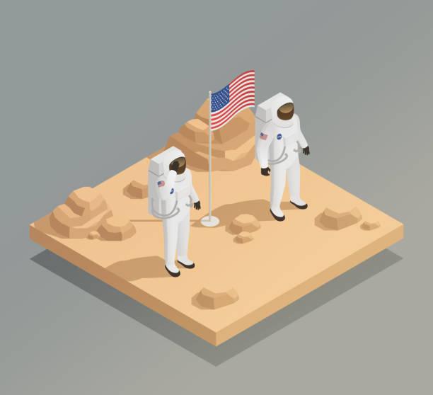 astronaut cosmonaut taikonaut isometric composition - космос и астрономия stock illustrations