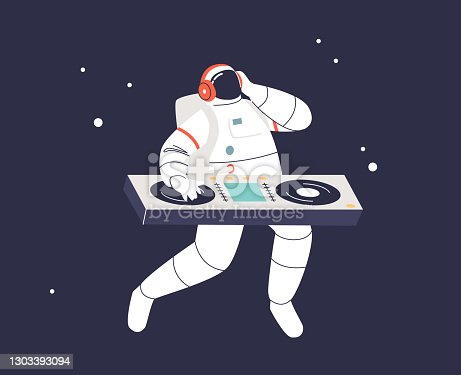 Astronaut dj dancing at turntable in space over galaxy and stars background