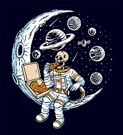 Astronaut eat pizza on the moon vector illustration