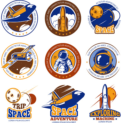 Astronaut flight, aviation, space shuttle and rockets vintage vector labels, icons, badges, emblems