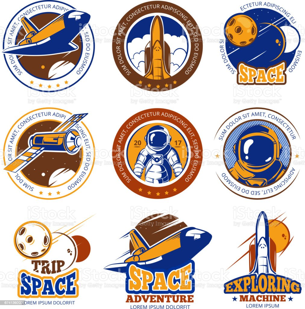 Astronaut flight, aviation, space shuttle and rockets vintage vector labels, icons, badges, emblems - illustrazione arte vettoriale