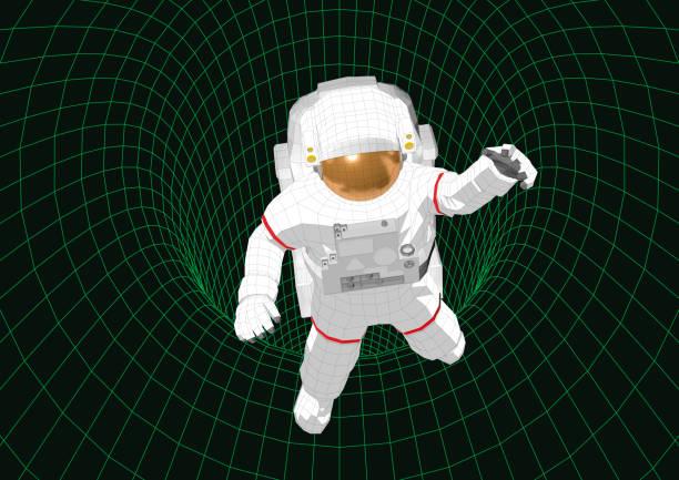 ilustrações de stock, clip art, desenhos animados e ícones de astronaut floating in a wireframe tunnel - wireframe solar power