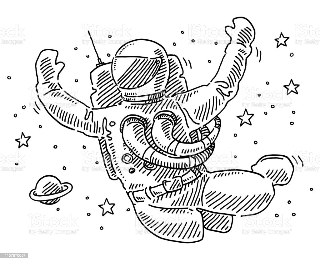 Hand-drawn vector drawing of a Astronaut Floating In Space....