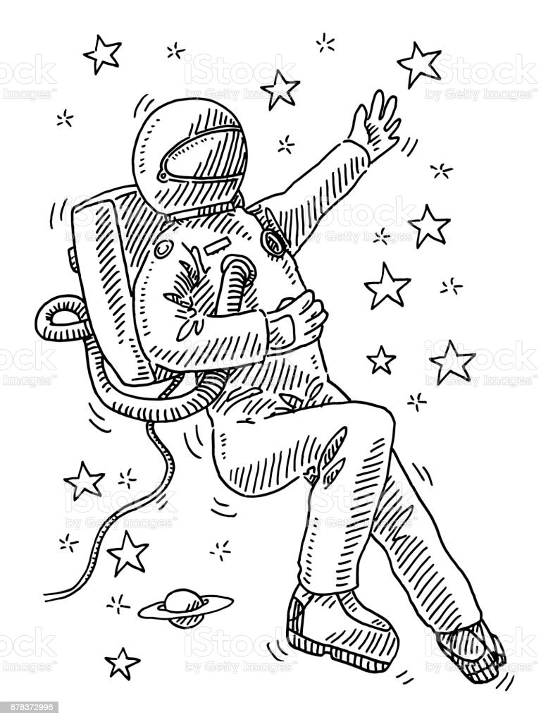 drawing of astronaut floating in space - photo #28