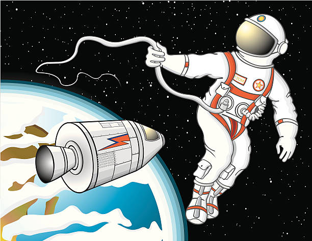 Astronaut floating in space David Bowie influence astronaut (Major Tom) out of his capsule and floating in space around earth. Diverse hidden Bowie symbols in illustration, have fun finding it! Illustrator CS2 file included astronaut floating in space stock illustrations