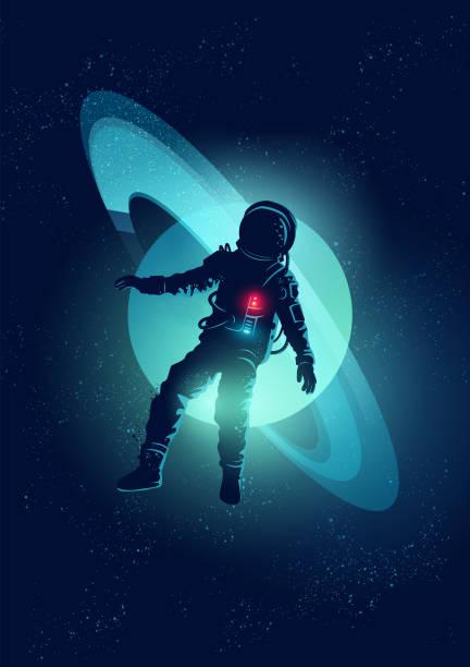 Astronauta galleggiare nell'aria. - illustrazione arte vettoriale