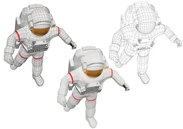 ilustrações de stock, clip art, desenhos animados e ícones de astronaut floating in the space with open arms - wireframe solar power