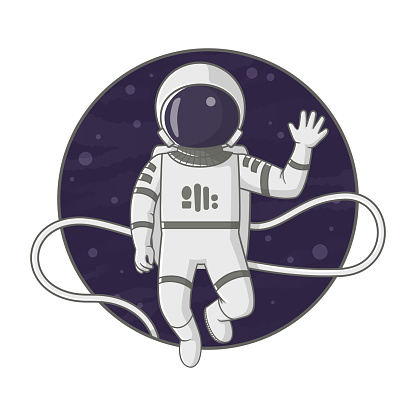 Astronaut floating on a tether in space waving. Cartoon illustration. Sign, poster, badge, sticker design. Vector.