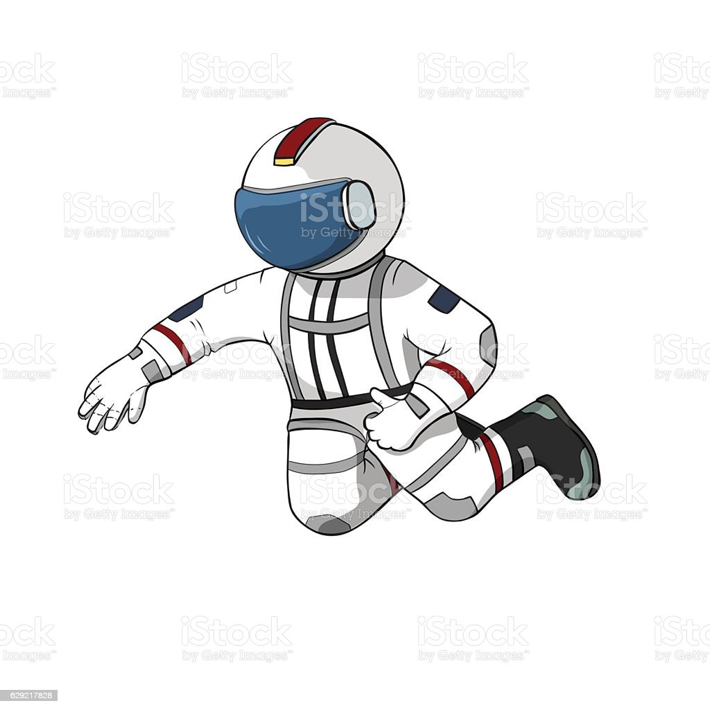 Astronaut fly white background isolated. Spaceman hand drawn color illustration. vector art illustration