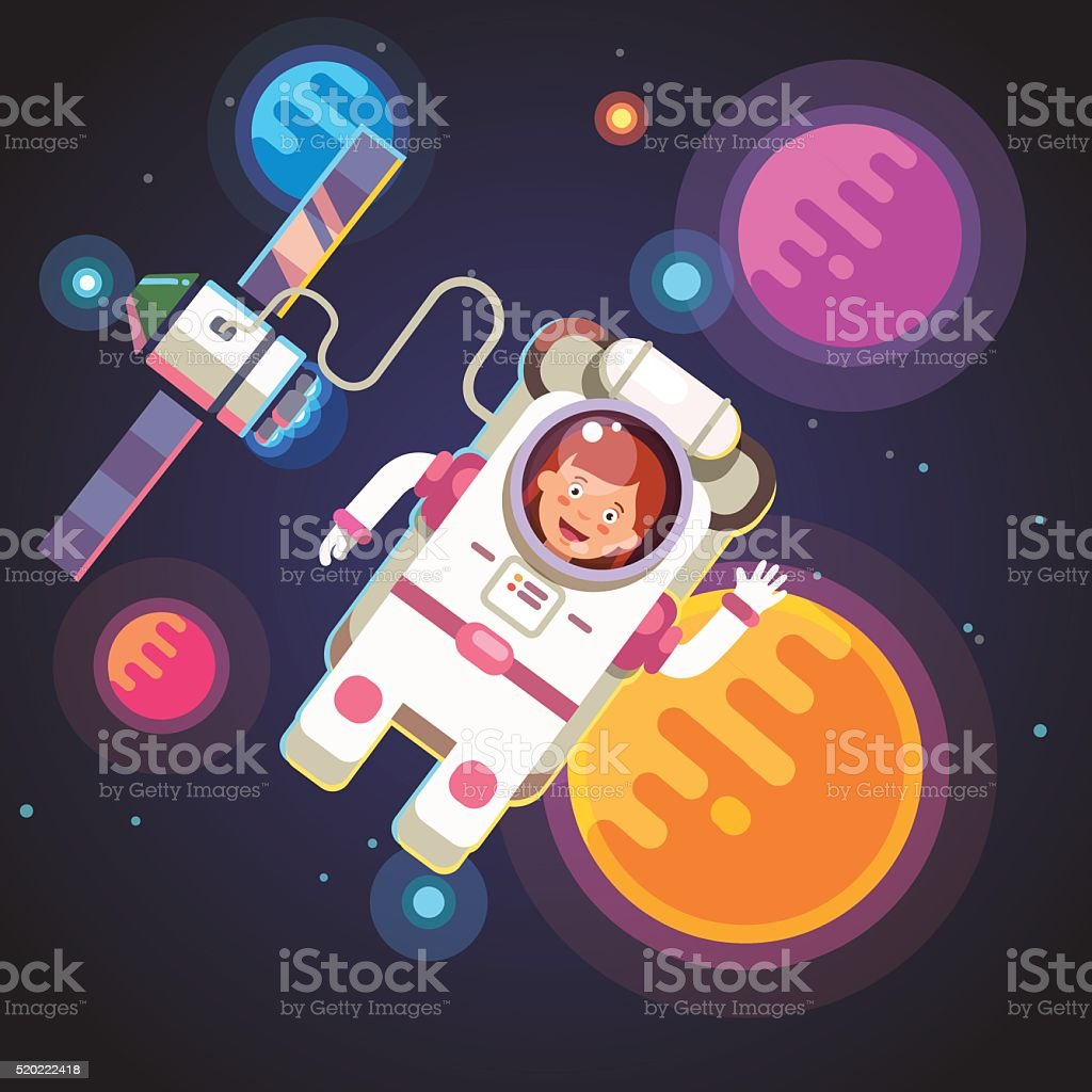 Astronaut girl flying in space vector art illustration